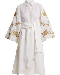 OSMAN - Ariana Embroidered-linen Dress - Lyst