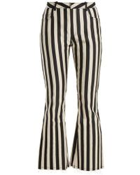 Marques'Almeida - High-rise Striped-satin Kick-flare Trousers - Lyst