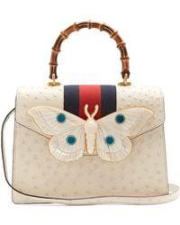 Gucci - Moth-embellished Ostrich-leather Bag - Lyst