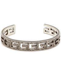 Gucci - Square G Sterling Silver Cuff Bracelet - Lyst