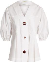Isa Arfen   Puff-sleeved Cotton Top   Lyst