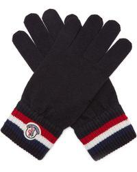 Moncler - Gants en laine vierge à logo - Lyst