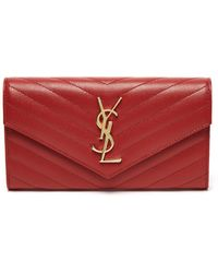 Saint Laurent - Monogram Quilted Pebbled Leather Wallet - Lyst