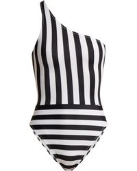 Norma Kamali - Mio One-shoulder Striped Swimsuit - Lyst