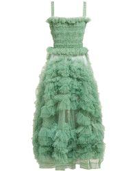 07607c7c572 On sale Molly Goddard - Flo Gingham Organza Ruffle Midi Dress - Lyst