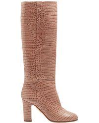 Aquazzura - Brera 85 Crocodile Print Leather Knee High Boots - Lyst