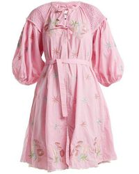 Innika Choo - Gingham Balloon-sleeve Cotton Dress - Lyst