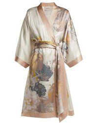 Carine Gilson - - Floral Print Silk Robe - Womens - Pink Print - Lyst