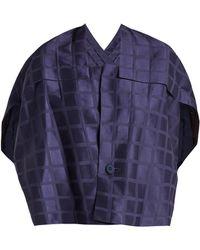 Issey Miyake - Square Neck Draped Back Grid Jacquard Jacket - Lyst