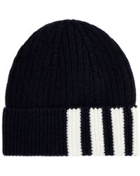 Thom Browne - Striped Ribbed Knit Cashmere Beanie - Lyst