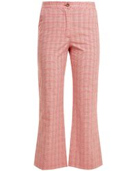 Stella Jean - Checked Cotton Blend Flared Trousers - Lyst