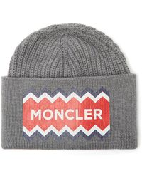 648de6f3ef69f8 Moncler Ribbed Beanie Hat in Green for Men - Lyst