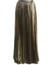 Maria Lucia Hohan - - Sada Pleated Silk Blend Maxi Skirt - Womens - Silver - Lyst