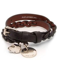 Alexander McQueen - Skull And Stud Leather Wrap Bracelet - Lyst
