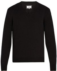 Maison Margiela - Suede-patch Cotton And Wool-blend Jumper - Lyst