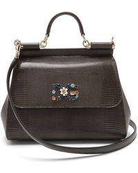 Dolce & Gabbana - Sicily Medium Iguana-effect Leather Bag - Lyst