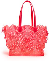 Sophia Webster - Liara Laser-cut Leather-trimmed Tote Bag - Lyst