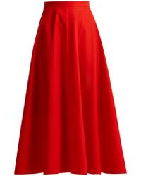 Delpozo - A-line Cotton Midi Skirt - Lyst