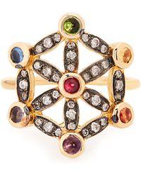 Noor Fares - Diamond, Multi-stone & Yellow-gold Pinky Ring - Lyst