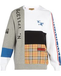 Burberry - Patchwork Crew Neck Cotton Sweatshirt - Lyst