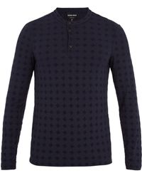 Giorgio Armani | Long-sleeved Flocked Jersey Henley Top | Lyst