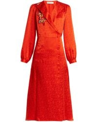 Etro - Plutone Floral-embroidered Button-down Satin Dress - Lyst