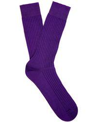 Pantherella Danvers Ribbed Knit Socks - Purple