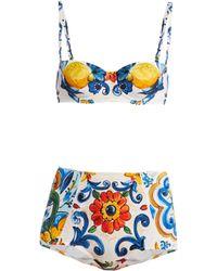 Dolce & Gabbana - Majolica Print Balconette Bikini - Lyst