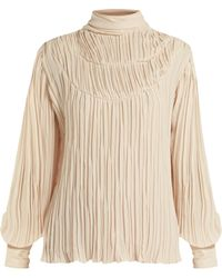 Johanna Ortiz - Martina Cespedes Pleated High Neck Blouse - Lyst