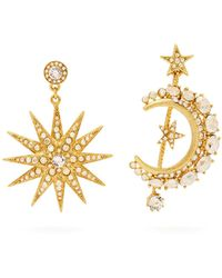 Oscar de la Renta - Moon And Star Pavé Crystal Mismatched Earrings - Lyst