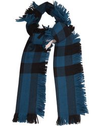 Burberry - Checked Fringed Scarf - Lyst
