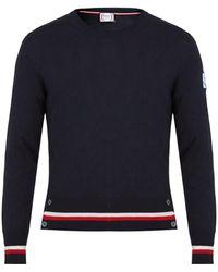 Moncler Gamme Bleu - Contrast-striped Cashmere And Silk-blend Jumper - Lyst