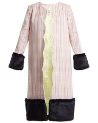 Shrimps - Andrea Contrast-panel Checked Cotton Coat - Lyst