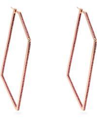 Lynn Ban - Sapphire & Rose Gold Plated Geometric Earrings - Lyst
