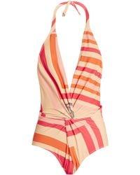 Katie Eary - Geo-print Twist-front Swimsuit - Lyst