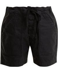 Chimala - Tie Waist Patch Pocket Cotton Twill Shorts - Lyst