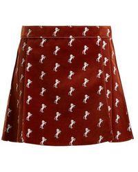 Chloé - Horse-embroidered Velvet Mini Skirt - Lyst