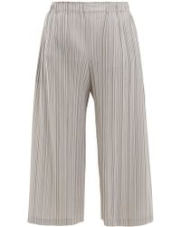 Pleats Please Issey Miyake - Wide-leg Pleated Cropped Trousers - Lyst