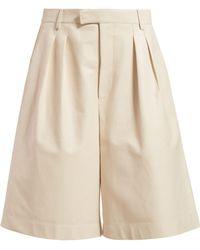 Bottega Veneta - Mid Rise Leather Bermuda Shorts - Lyst