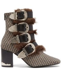 Toga - Buckled Faux Fur-trimmed Wool Ankle Boots - Lyst