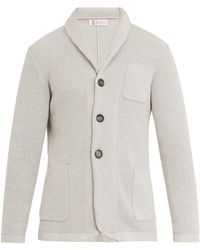 Brunello Cucinelli | Shawl-collar Ribbed-knit Cotton Cardigan | Lyst