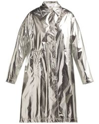 MM6 by Maison Martin Margiela - Silver Shiny A-line Trench Coat - Lyst