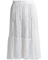 Valentino - Floral-embroidered Tulle Midi Skirt - Lyst