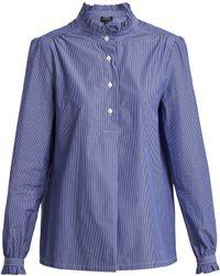 A.P.C. - Saint Germain Ruffle-detailed Striped Cotton Shirt - Lyst