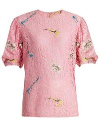 N°21 - Floral-embroidered Lace Top - Lyst