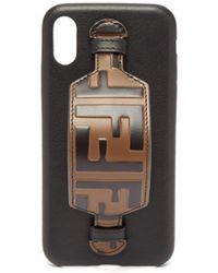 Fendi - Ff Logo Leather Iphone® X Case - Lyst