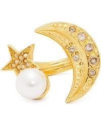 Oscar de la Renta - Moon And Star Crystal Embellished Ring - Lyst