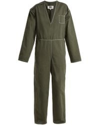 MM6 by Maison Martin Margiela - V Neck Straight Leg Cotton Jumpsuit - Lyst