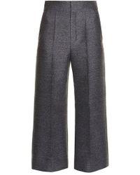 Lanvin - Wide-leg Flannel Cropped Trousers - Lyst