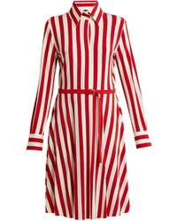 Norma Kamali - Shirt Flared Dress - Tango 3/4 Stripe - Lyst